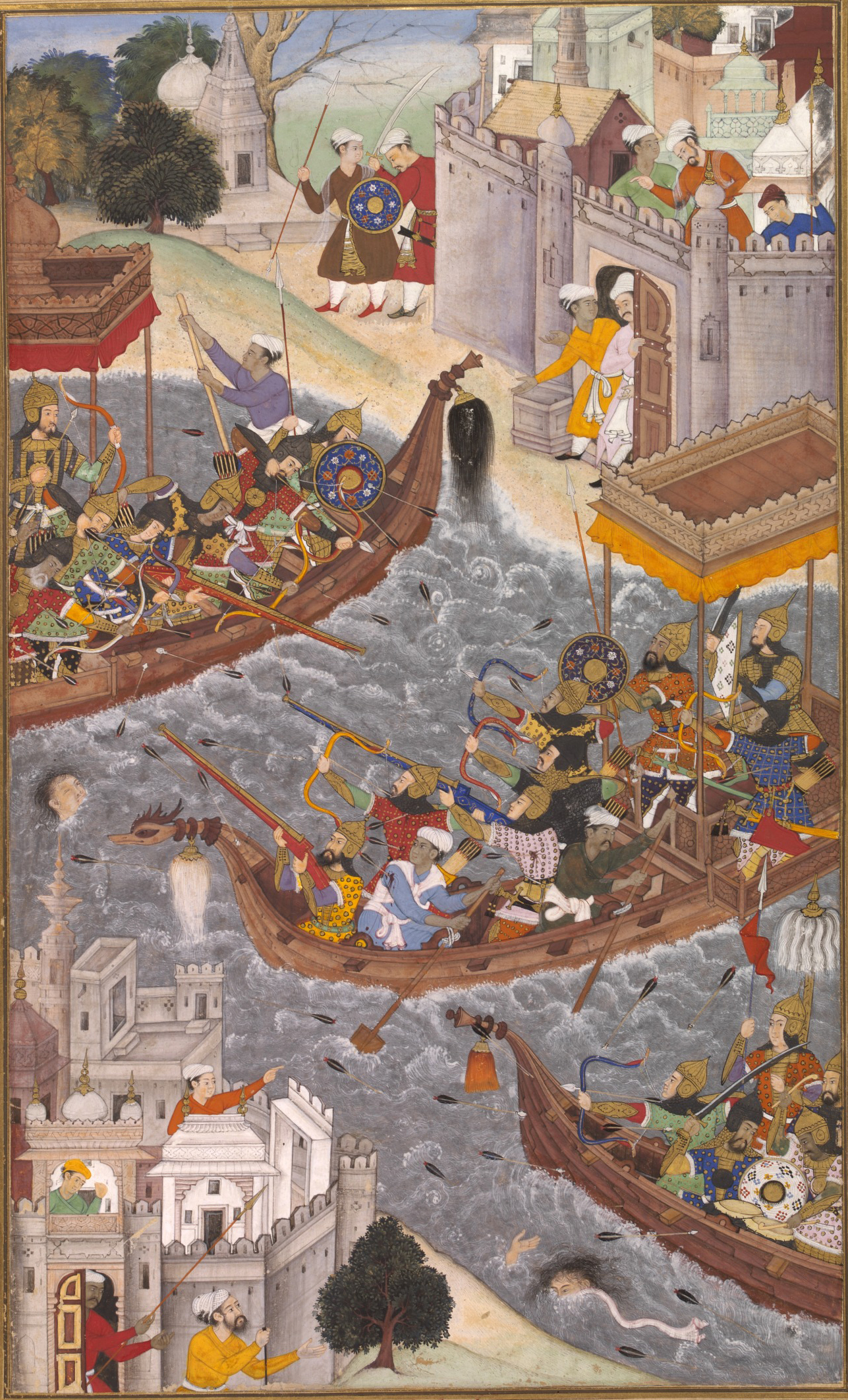 1565-battle_scene_with_boats_on_the_ganges-akbarnama