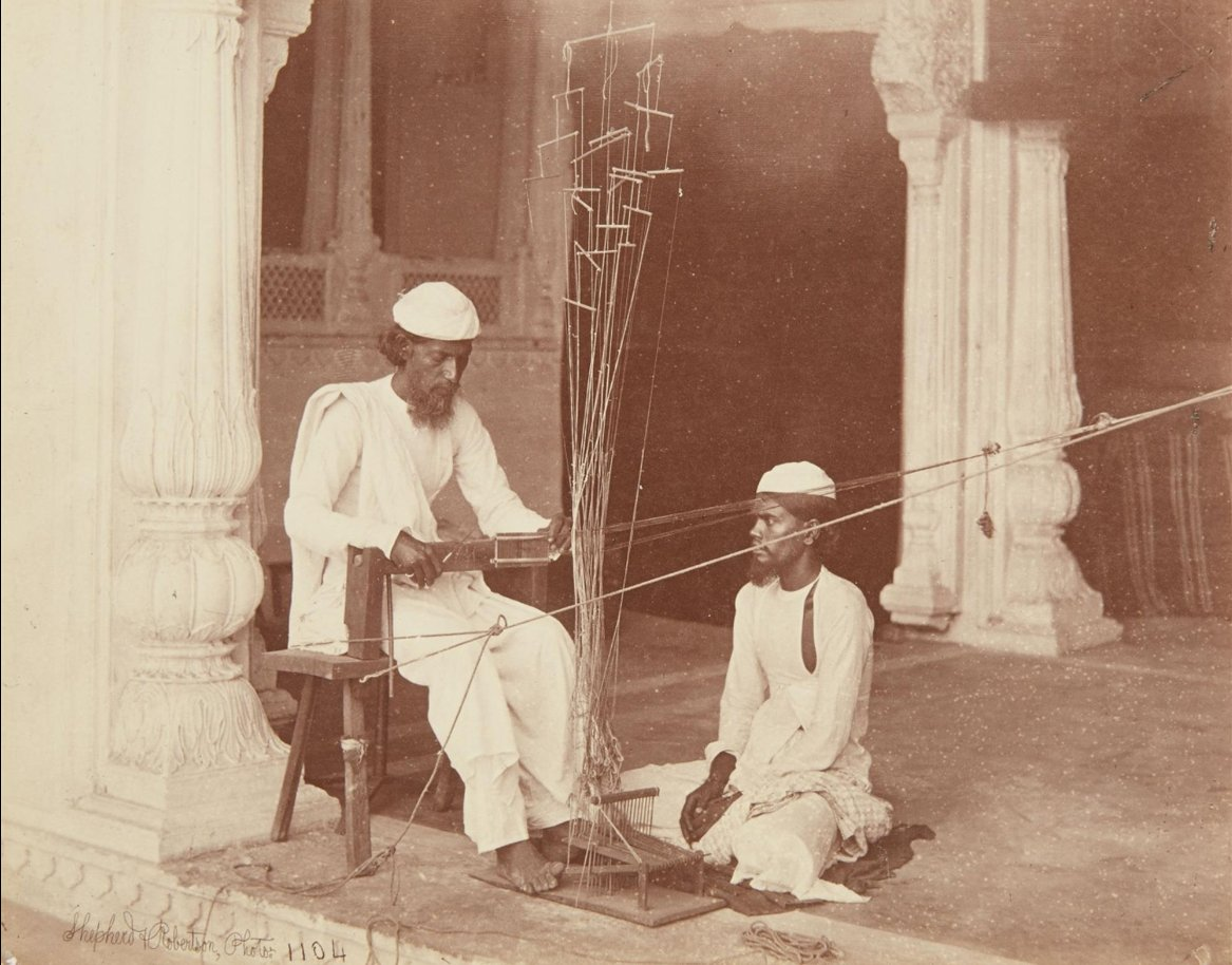 Weavers in Agra, circa 1862-4