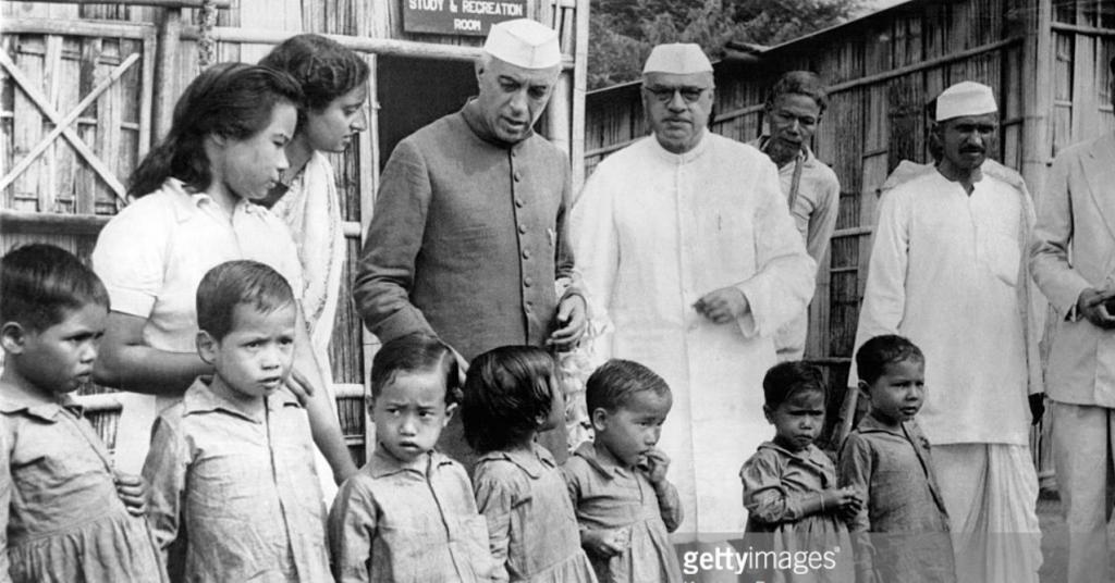 Jawaharlal Nehru visiting a Children's Hospital in Pasighat, (then NEFA, now Arunachal Pradesh) accompanied by the then Governor of Assam Jairamdas Daulatram